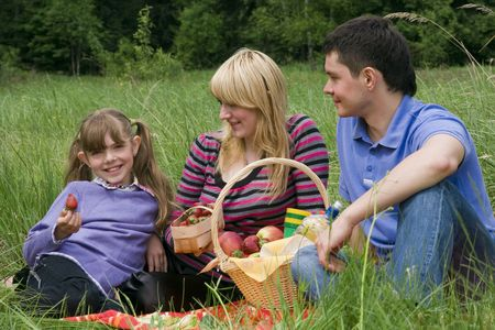 Family having picnic in park. Parents and child on picnic in the forest. Mother, father and daughter relaxing. Girl is holding strawberry. Stock Photo - 5106934