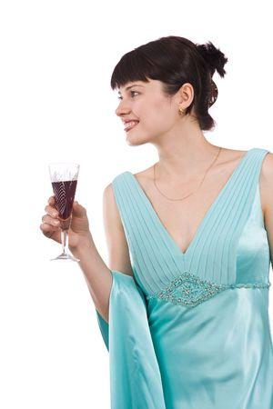 greenness: Woman proposes a toast to smbs health. Girl in greenness of the sea dress is standing and holding wine glass. Isolated on white background.