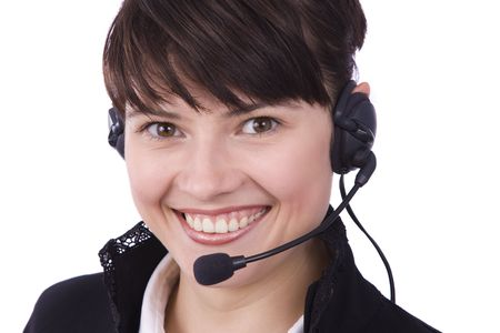 How can i help you? Beautiful Customer Representative girl with headset. Helpdesk or support operator. Isolated over white background.  photo