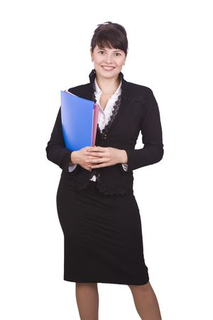 Happy successful business woman is holding folders . Young business girl with documents. Isolated over white background