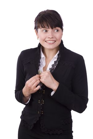 stash: Business woman save up some money and smiling. Businesswoman stash kept secret from other. Isolated over white background.