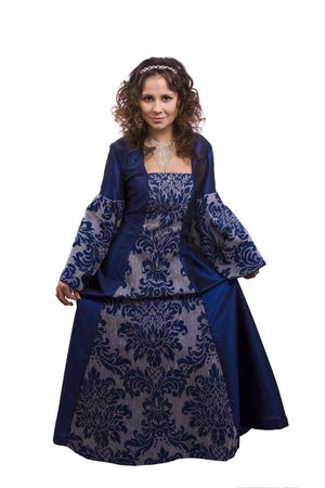 Woman wearing fancy blue dress on Halloween. A young woman dressed up as princess. Cute girl in medieval era costume on white background. Stock Photo - 5815433