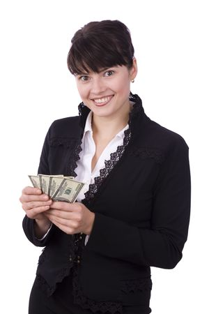 stash: Business woman save up some money and smiling. Businesswoman stash kept secret from other. Girl holding a money and smiling. Isolated over white background.