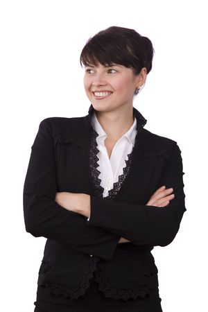 Portrait of business woman with brown hair is looking to the left. Brunette businesswoman dressed in black suit. Isolated over white background. Stock Photo