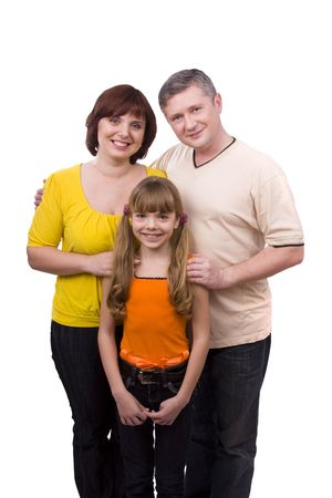 Happy family. Mother, father and little daughter are smiling . Woman, man and girl are lying on the floor and posing happily on white background. photo