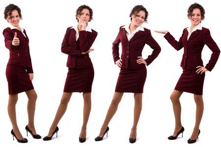 Whole-length portrait of business woman with brown hair is standing. Brunette businesswoman dressed in red suit. Isolated over white background. Stock Photo