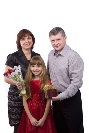 Happy family. Father is giving gifts daughter and mother. Man say happy birthday to girl and woman on white background.