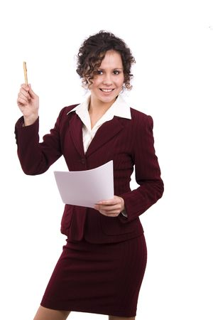 Happy successful business woman is holding documents and pen. Young business girl with paper. Isolated over white background. Stock Photo - 6403022