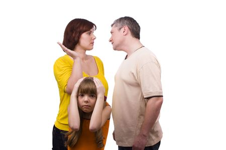 Girl suffers while parents argue vehemently in white background. Conflict in a family.  Wife is striking husband. Couple fighting  Stock Photo