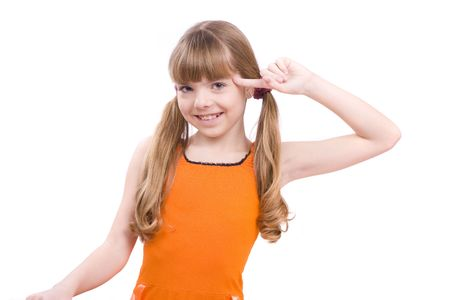 Girl with finger near her head.  Girl in glasses playing the fool.  photo