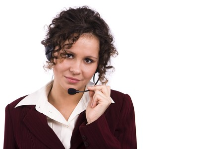 Helpdesk or support operator. Successful  businesswoman is speaking over the headset with a microphone. Friendly negotiator Stock Photo - 6958848