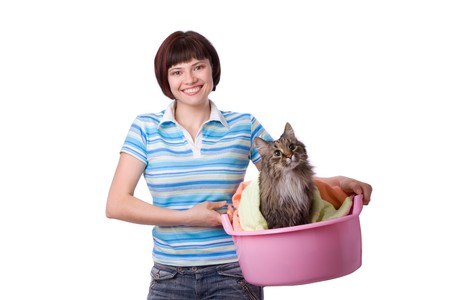 Housewife with laundry basket with dirty cat.  A young woman holding a basket of folded laundry. Time for laundry day.