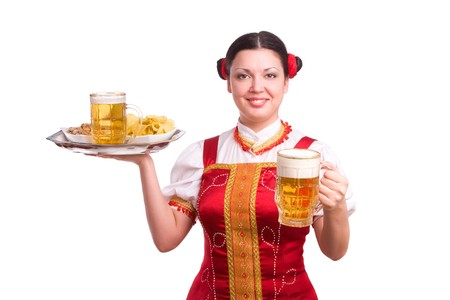 GermanBavarian girl with a traditional Oktoberfest  Stock Photo