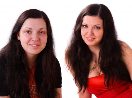 Young woman is given a makeover. Portrait of  model before and after make-up.