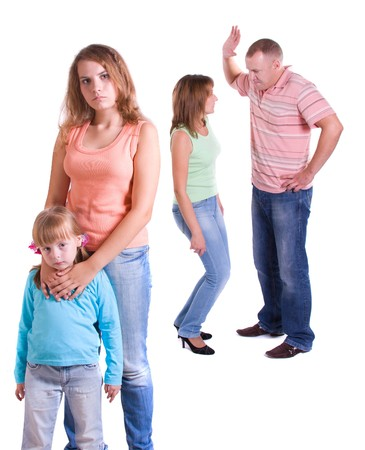 Parents swear, and children suffer. Stock Photo
