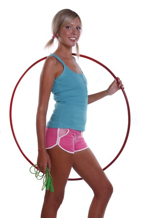 Woman with hoop and jump rope. photo