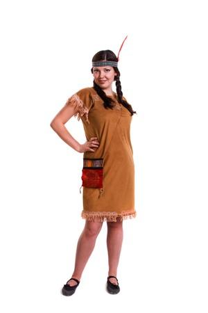 Woman in american indian costume Foto de archivo