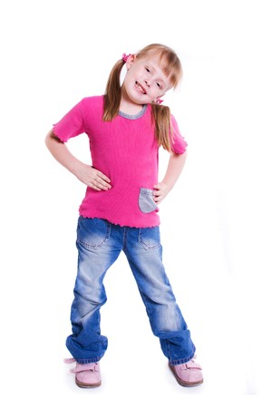 Little girl in jeans on white background
