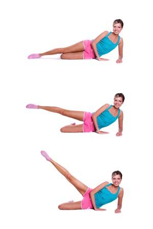 Woman do exercises Foto de archivo
