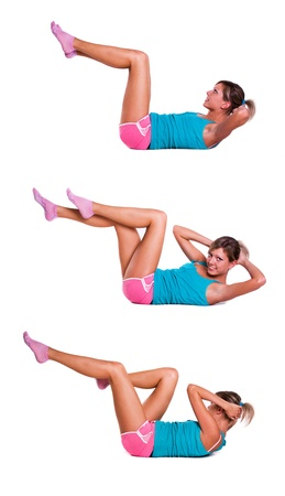 Young woman do exercises for abdominal muscles