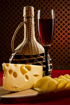 Red wine glass and cheese Stock Photo