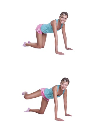 young woman doing exercises for buttocks photo