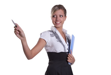 Businesswoman holding documents Stock Photo