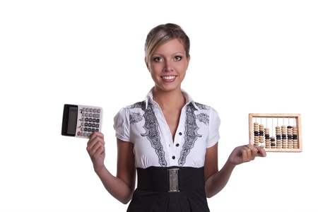 financier: Businesswoman holding woodenabacus and calculator.