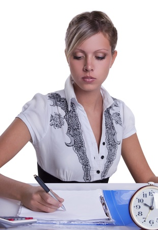 Businesswoman sitting with documents and fills Stock Photo