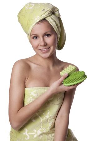 Beautiful girl keeps bath means Hygiene