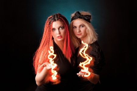 Two witches  practises witchcraft