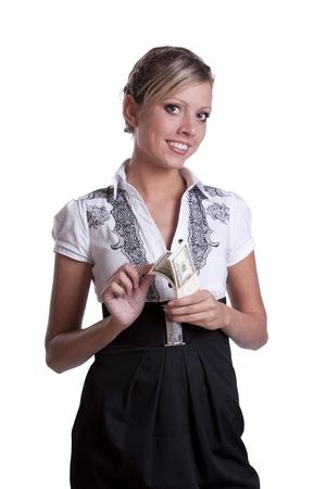 Business lady holding dollars Stock Photo