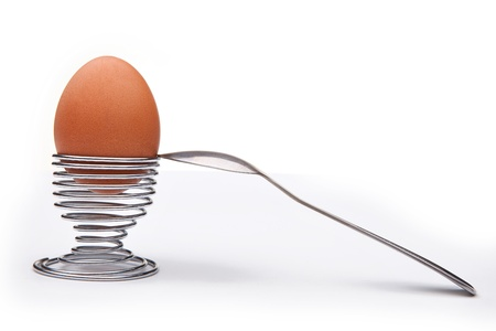 Boiled Egg and stand for eggs Stock Photo