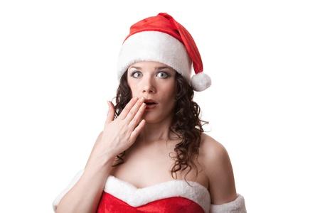 Santa girl is looking surprised Stock Photo