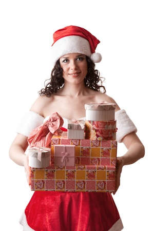 Santa girl is holding Christmas gifts