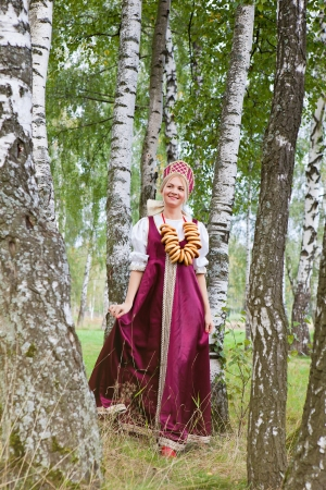 Woman in Russian traditional costume  Standard-Bild