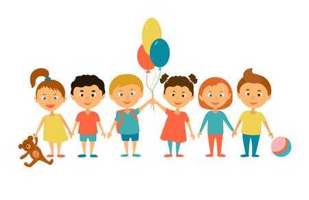 jardin de infantes: Niños. Personajes de caricatura. Amigos. niños divertidos con los globos y juguetes.
