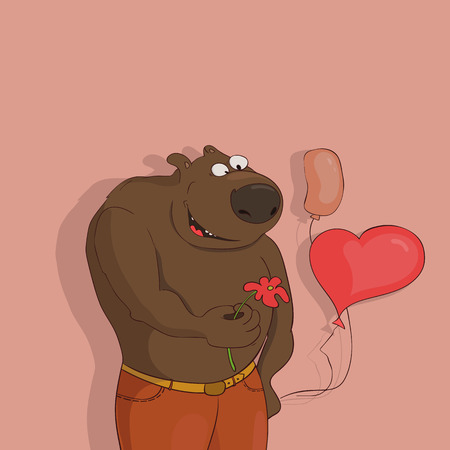 Greeting card with a bear.Bear with flower.