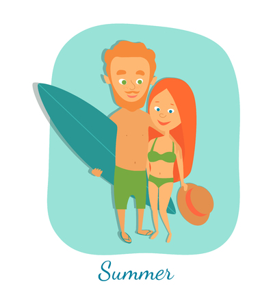 Vector illustration. Summer. Surfing. Couple in swimwear. A man with a surfboard and a woman with a hat in her hand. Cartoon characters.