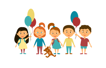 jardin de infantes: Children. Cartoon characters. Friends. Funny kids with balloons and toys. Vectores
