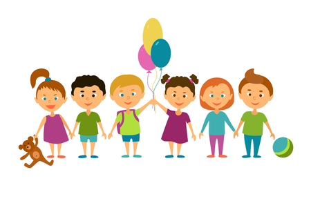 kinder garden: Children. Cartoon characters. Friends. Funny kids with balloons and toys. Illustration