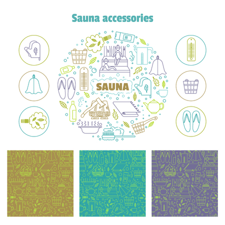 steam bath: Set consisting of a round emblem, icons and line seamless patterns. Vector illustration.Accessories for sauna and bath. Illustration
