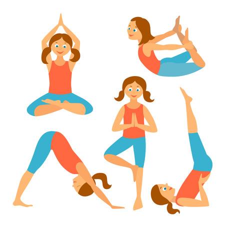 Yoga kids set.Vector illustration. Yoga Asanas: Adho Mukha Shvanasana, sarvangasana,vrikshasana,padmasana,dhanurasana. Exercises for a healthy health.