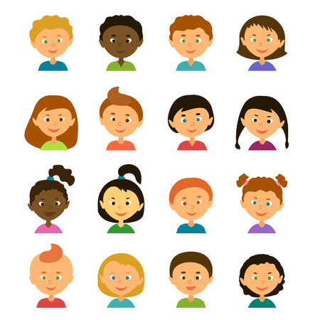 Avatars. Children.Girls and boys of different appearance and nationality.Cartoon characters. Style flat Stock Photo