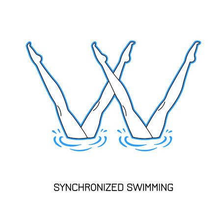 natación sincronizada: Deporte. Natación sincronizada. rendimiento de los nadadores sincronizados par. estilo de línea.
