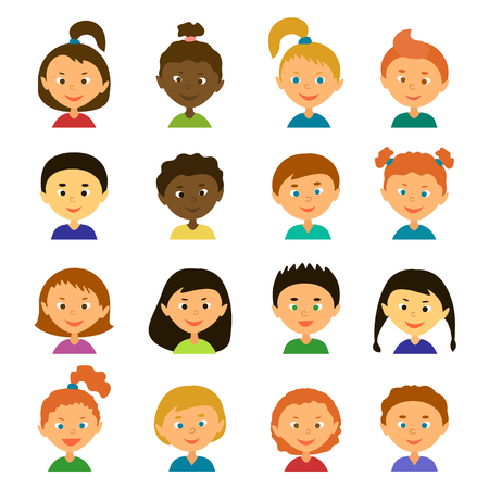 Avatars. Children.Girls and boys of different appearance and nationality.Cartoon characters. Style flat Illustration