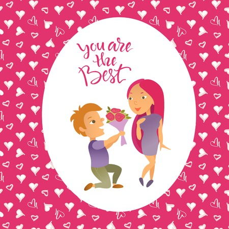 Vector illustration. Valentines Day. Greeting card. Cartoon characters. Lovers man and woman. Illustration