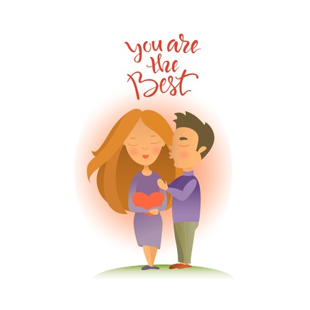 Vector illustration. Greeting card with Valentines day holiday. Postcard with the image of enamored pair. Cartoon characters.