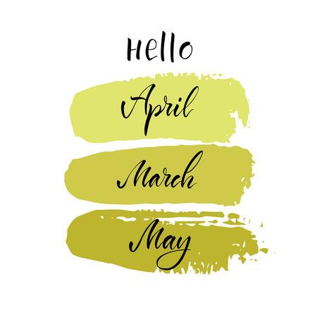 """Vector illustratie. Moderne kalligrafieborstel. Belettering. De zin """"Hallo april, maart, mei""""."""
