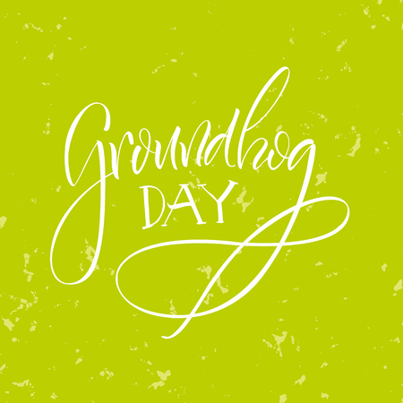 Vector illustration. Lettering. Congratulations on Groundhog day.
